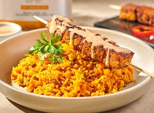 Poêlée de riz au tempeh mariné et sauce cacahuète